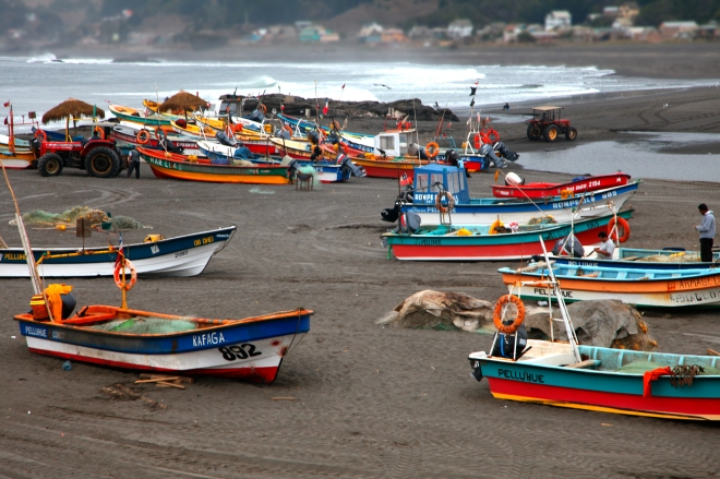 "Fishing Boats in Pelluhue 40"" x 30"" $750.00"