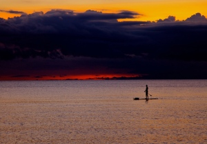 "Paddle Board at Sunset 24"" x 16"" Giclee on Canvas Limited Edition 12/25 $400.00"